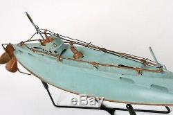 RARE! Vintage Bing 1920s Tin Submarine 10.5 Working Clockwork w Stand Germany