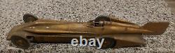 RARE Vintage Kingsbury Golden Arrow Speed Racer Wind up Race Car Antique read