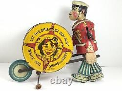RARE Vintage Marx, Let The Drummer Boy Play, Wind-Up Tin Toy