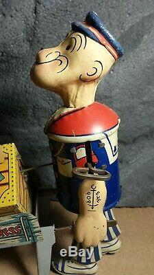 RARE Vintage Marx Popeye Express with Pop-up Parrot Tin Wind Up Toy Works