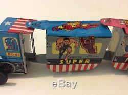 RARE Vintage Marx Super Hero Express Train Wind Up Locomotive Captain America