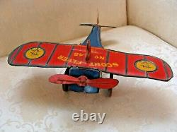 RARE Vintage Strauss Scout Flyer Plane Wind-Up Mechanical Toy No. 48 Antique