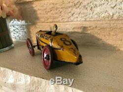 RARE Vintage Tin Litho Windup Bear Cat #8 Race Car Toy Boattail RAcer Bearcat