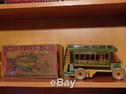 REDUCED! Strauss Antique Tin Wind-up Inter-State BUS Toy withOrig Box