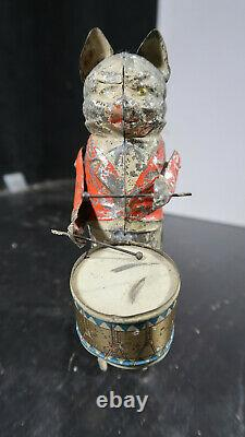 R GUNTHERMANN Tin Clockwork CAT DRUMMER Windup Toy GERMAN IN RARE RED COAT