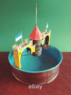 Rare 1910's Fleischmann #4380 Tin Wind-up Moat Castle Sail-boat Ship Carousel