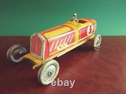 Rare 1930's INGAP Padova PD 2000 Tin Wind-up Art Deco Open-wheel Race Car Racer
