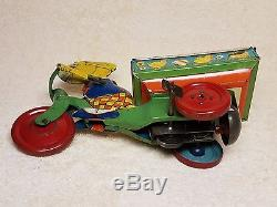 Rare 1930's Vintage J. Chein & Co. Easter Rabbit Wind Up Tricycle Tin Bunny Toy