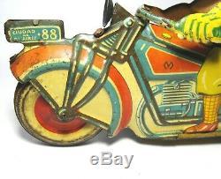 Rare 1939 MATARAZZO 9Sidecar Motorcycle/Motorrad/Moto Win-Up Tin Toy Ingap/GeLy