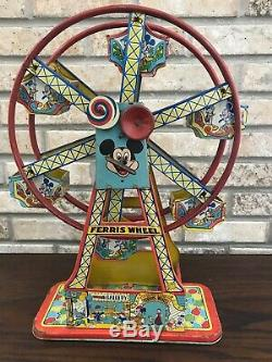 Rare 1950's Disney/Mickey Mouse Ferris Wheel Vintage tin wind up toy by J. Chein