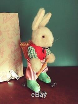 Rare 1950s US Zone Schuco Rolly 7404 Tin Wind-up Easter Rabbit Skater with Or. Box