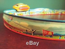 Rare 1953 Technofix GE 271 Raketenbahn Tin Wind-up Space Monorail with Or. Box