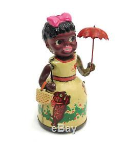 Rare Alps Occupied Japan Shopping Suzy Black Tin & Celluloid Wind Up Toy In Box