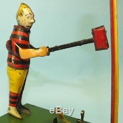 Rare Antique 1921 B&r Kid Samson Heavy Hitter Mechanical Tin Windup Carnival Toy