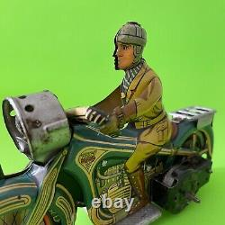 Rare Antique Arnold A643 Tin Windup Sparking Toy Motorcycle Made Germany Us Zone