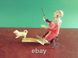 Rare Early SG Gunthermann Tin Wind-up Performing Circus Clown and Dog Tinplate