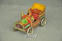 Rare Early Vintage Wind Up Moon Star Mark Colorful 250 Litho Car Tin Toy, Japan