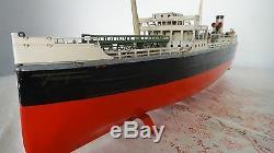 Rare Ship Antique German Fleischmann Tin Esso Oil Tanker Boat GFN Marklin
