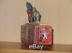 Rare Unique Art Vintage Tin Wind-up HOBO TRAIN