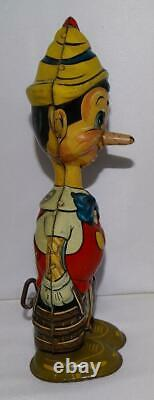Rare Version 1 Ex! Disney 1939 Pinocchio Marx Tin Wind-up Toy+ Built-in Key