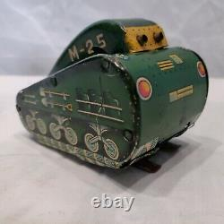 Rare Vintage 1950s Marx M-25 Superman Tin Wind Up Turnover Green tank WORKS WOW