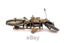 Rare Vintage CK Kuramochi Motorcycle Clockwork Wind-up Tin Toy Harley Pre-war