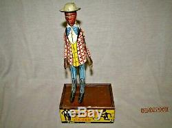 Rare Vintage Dapper Dan Carter's Coon Jigger Tin wind up toy by Louis Marx