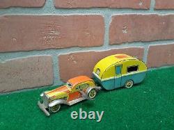 Rare Vintage Japan CK Foreign Tin Wind-up Sedan & Camper Caravan Trailer Set