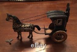 Rare Vintage Lehmann Horse And Carriage Windup Tin Toy (Works)