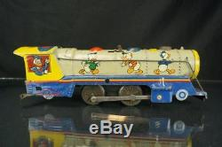 Rare Vintage Linemar Walt Disney Mickey Mouse Meteor Train Tin Wind Up Toy