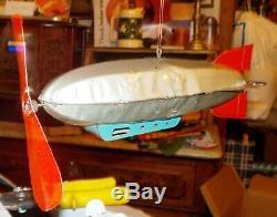 Rare Vintage MarX Wind Up Zeppelin, Blimp, Motor Works, 11 inches