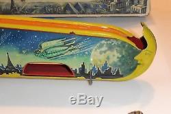 Rare Vintage Technofix Terra Luna Tin Wind Up Space Toy Orbiting Ships Box #262