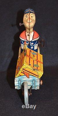 Rare Vintage Toy Tin Litho Wind-Up Toy, Popeye Express, 1930s