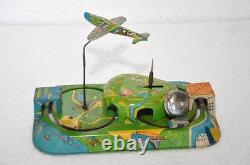 Rare Vintage Wind Up Central Station Litho Tin Toy, Japan