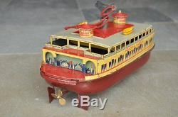 Rare Vintage Windup C. K T Prewar Hendrik Hudson Litho Ferry Boat Tin Toy Japan