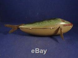 Rare vintage tin litho wind-up toy Fish Tuna Whale 1900 probably BING