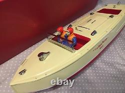 SCHUCO Windup Toy NAUTICO TIN PLATE Boat With Box