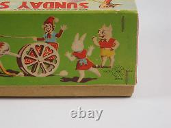 SUNDAY STROLLER Japan windup tin toy Ostrich Monkey Cart Celluloid MIB 0127