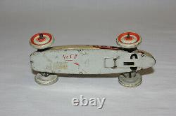 Scarce German Tin Litho Wind Up Land Speed Record Race Car with Driver #9 VG L@@K