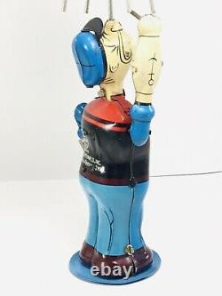 Scarce Linemar (MARX) Japan Tin Wind-up Mechanical Popeye Juggling Olive Oyl