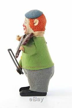 Schuco Tin Wind-Up Toy Clown with Violin Made in Germany