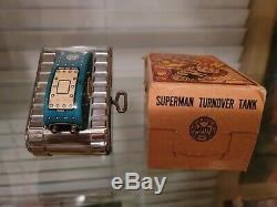 Superman Turnover Tank Wind Up Tin Toy 1940s MARX Silver Rollover WWII WORKS