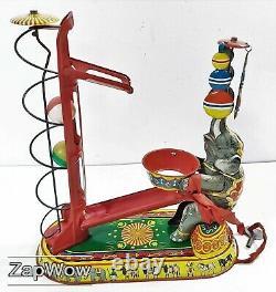 TIN TOY ELEPHANT JUGGLING 1950s NBN Clockwork Wind-Up Vintage Western Germany