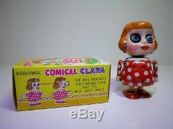 TPS (Japan) # 1950's Mechanical Comical Clara & Pop-Eye Pete in Original Boxes