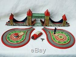 Technofix no. 277 Mechanical Tower Bridge Tin Toy Vintage Germany Rare
