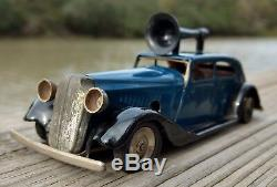 Tin Toy Car Tri-Ang Minic Police Car w Loudspeaker & 2 Figures Wind-Up Vintage