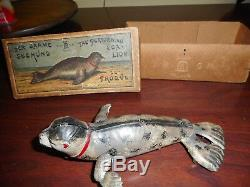 Tin Toy German Lehmann Wind Up Sea Lion Seal Seehund. Works with RARE Original Box