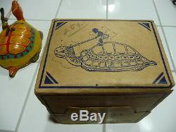 Turtle with Native Rider tin wind-up toy J. Chein & Co. With original box 1930s