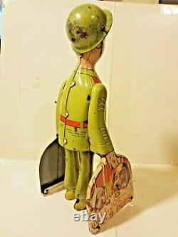 Unique Art G. I. Joe & Hid K-9 Pups Walking Windup Toy 1950s