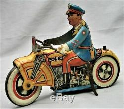Unique Art Tin Wind-Up Police Motorcycle